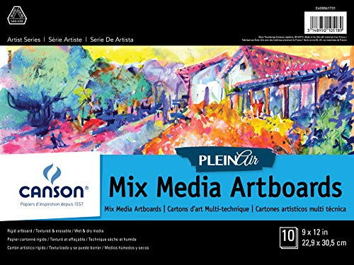 Canson Plein Air Mix Media Art Board Pad for Watercolor, Acrylic, Pens and Pencils, 9 x 12 Inch, Set of 10 Boards