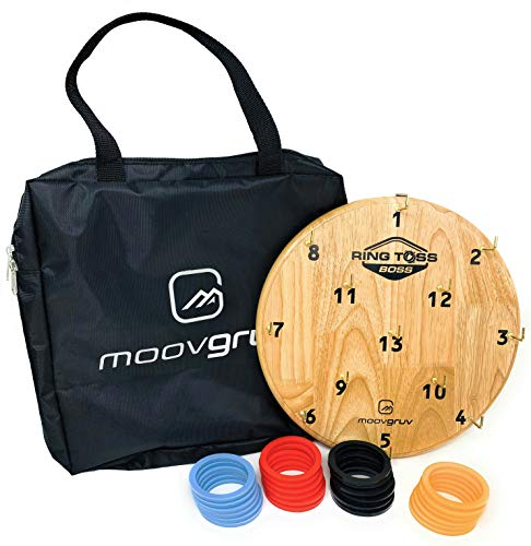 moovgruv Ring Toss Boss! 4 Player Hook and Ring Toss Game with Carry Bag! Great for Indoor or Outdoor Family Games, Kids Game Room, Man cave, Yard Games, Camping or Carnival Games