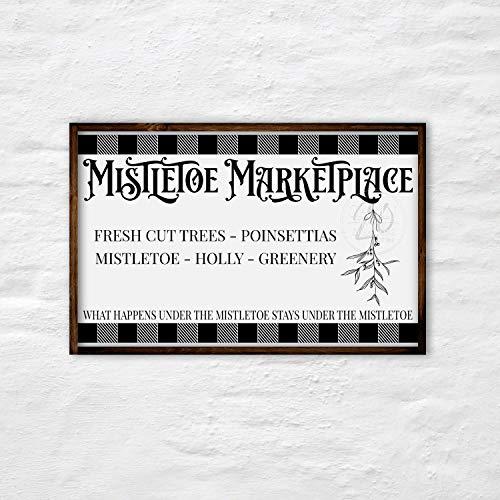 onbekend Wall Art Mistletoe Teken - Mistletoe Marktplaats Teken - Kerst Teken - Kerst Decor - Kerst Houten Teken - Boerderij Kerst Decor -Cabin20 houten plaque, aangepaste gift