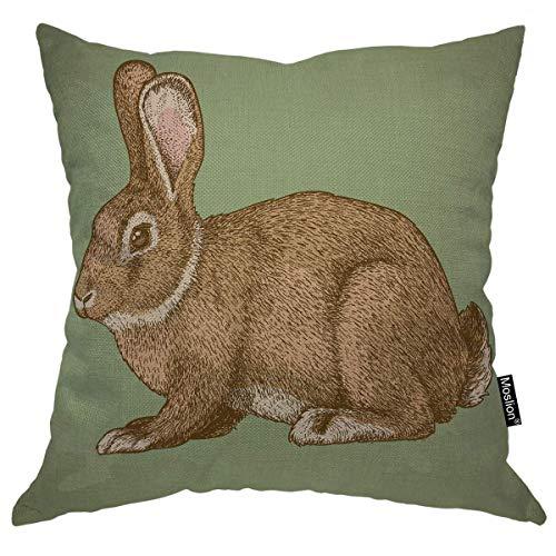 Funda de almohada de conejo, pintura de arte animal, grabado de liebre mascotas, roedor, bosquejo salvaje de 40,6 x 40,6 cm, funda de cojín cuadrada para el hogar, coche, decoración de algodón y lino