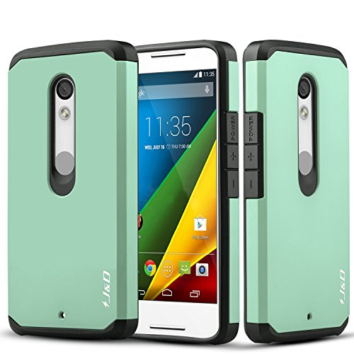 J&D Case Compatible for Moto Droid Maxx 2 Case, Heavy Duty [Dual Layer] Hybrid Shock Proof Protective Rugged Bumper Case for Moto Droid Maxx 2 Case - Mint