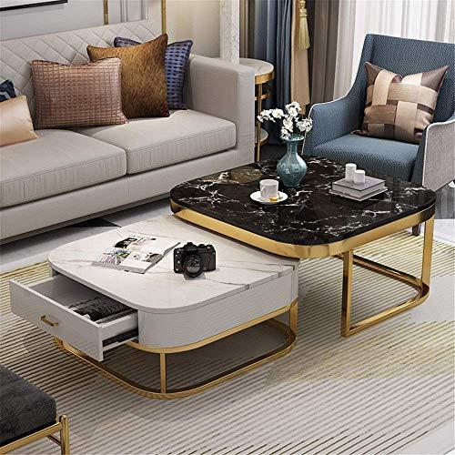 FTFTO Equipo Diario Mesas Nido Mesa de Centro de mármol Cuadrado Simple con cajón Mesa de Centro Mesa Auxiliar de apartamento pequeño Decoración y Comodidad (Color: Negro Tamaño: 70x70cm + 55x55cm)