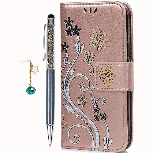 Geniric Flip Handy Hülle für Samsung Galaxy S5 Mini Leder Wallet Cover Stand Case Card Slot Tasche Karteneinschub Magnetverschluß Kratzfestes Gold Bunte Schmetterlinge mit Stylus Stift Staubstecker