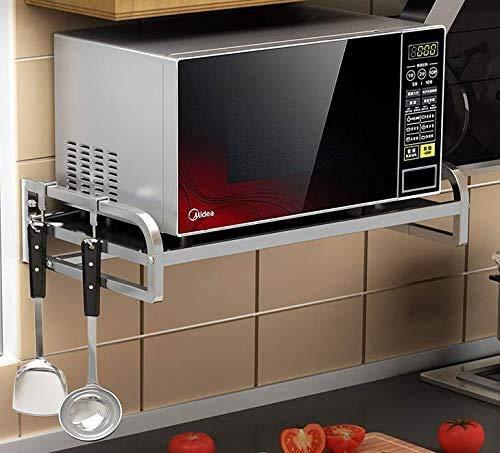 Cocina del soporte del horno de microondas de montaje en pared estante del condimento titular de almacenamiento en rack de almacenamiento de cocina que cuelga fácil de instalar, 54cm, Tamaño: 59cm XMJ