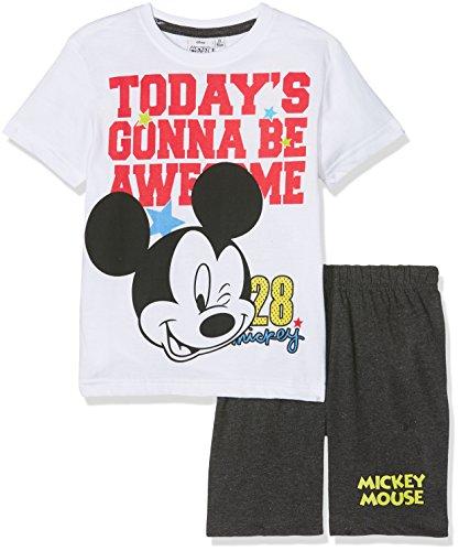 Disney Mickey 173402 Ensemble de Pyjama, Blanc (Blanc Marron Foncé Gris Blanc Marron Foncé Gris), Taille Fabricant: 4 Ans Garçon