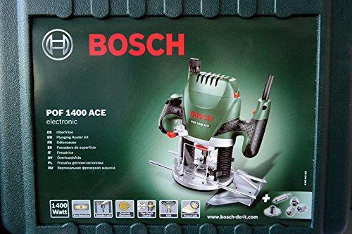 Bosch DIY Oberfräse POF 1400 ACE, Absaugadapter, Gabelschlüssel, Kopierhülse, Nutfräser, Parallelanschlag, Zentrierstift, 3 Spannzangen, Koffer (1400 W, Werkzeugaufnahme 6 mm)