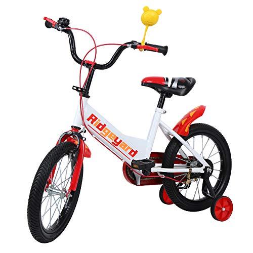 MuGuang 16 Pouces Vélo Enfant étude d'apprentissage équitation Vélo Garçons Filles Vélo avec Stabilisateurs Vélo pour Enfant de 4 à 8 Ans (Rouge)