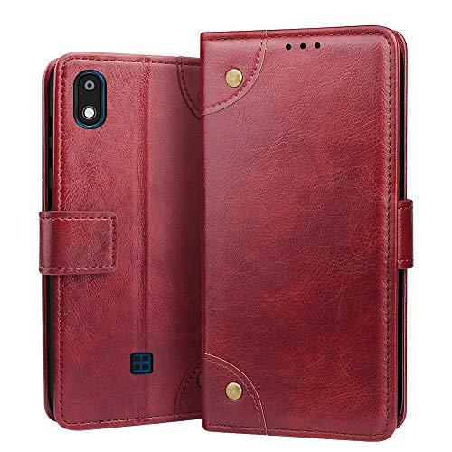 RIFFUE Hülle für LG K20 2019 Hülle, Handyhülle LG K20 2019 Premium Tasche Leder Künstliche Brieftasche Klapphülle Weiche mit Kartenfach Standfunktion 5,45 Zoll - Rot