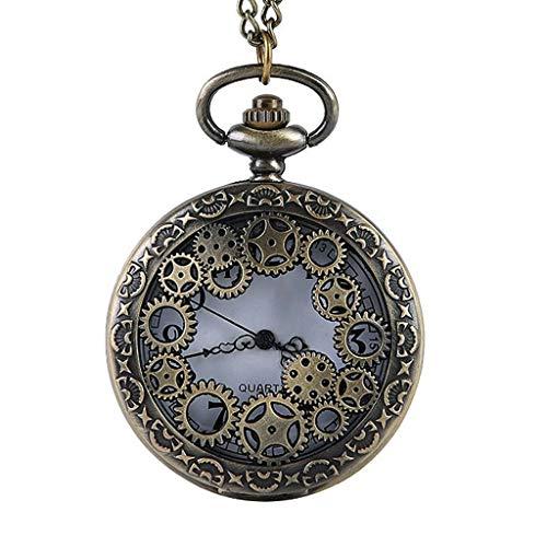 YUTRD ZCJUX Reloj de Bolsillo de Cuarzo de Bronce Hueco Retro Gear Vintage Hombres Mujeres Colgante Collar Fob Reloj Regalos Reloj para Hombres Mujeres
