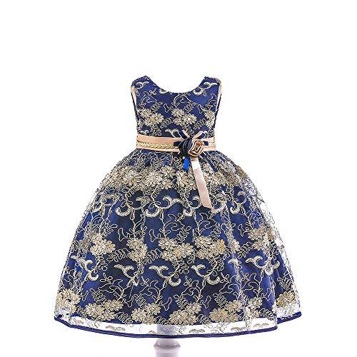 Romon Vestido de Princesa con Bordado de Flores de Seda para niñas Vestido de Novia con Bordado de Seda Dorada Ropa de Baile de Rendimiento para 3-8 años
