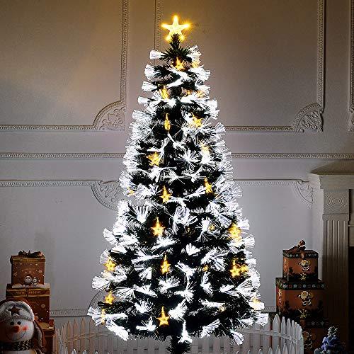 Artificial Christmas Tree Fibre Optic Xmas Tree with Multi LED Source Fiber Headlight Pentagram Light Hanging Adjustable Button Multiple Modes for Christmas Crafts Decor