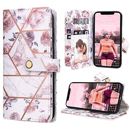 Dracool Funda para iPhone 12 / iPhone 12 Pro (6,1 Pulgadas) 5G de Cartera Carcasa con 10 Tarjetero Fundas Wallet Case para Mujeres con Libro Tapa con Flor de Cuero Premium Magnético - Mármol Oro Rosa
