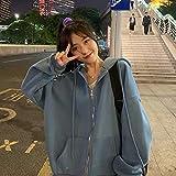 Sudaderas con capucha Sudaderas para mujer Otoño Sudaderas con cremallera sólida Versión coreana Chaqueta con capucha de manga larga suelta y fina Abrigo (Color : 6, Size : Large)
