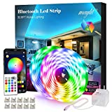 maylit Led Strip Lights, 32.8ft Bluetooth App Controller RGB Led Light Strip, 5050 LEDs Music Sync Color LED Strip Lights Kit with Remote and 12V Power Supply for Bedroom, Room, 2 Roll 16.4 ft