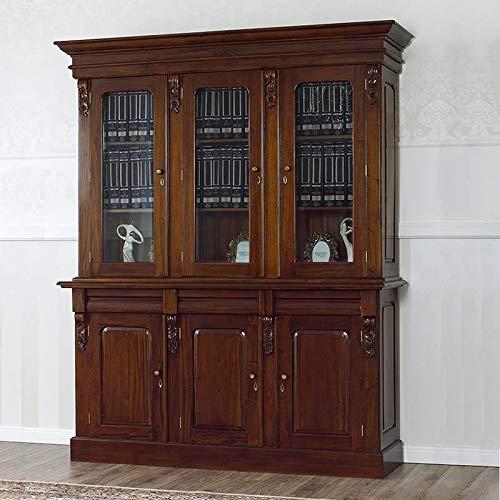 Libreria Annette stile Inglese vetrina cristalliera credenza ministeriale presidenziale noce 6 porte 3 cassetti