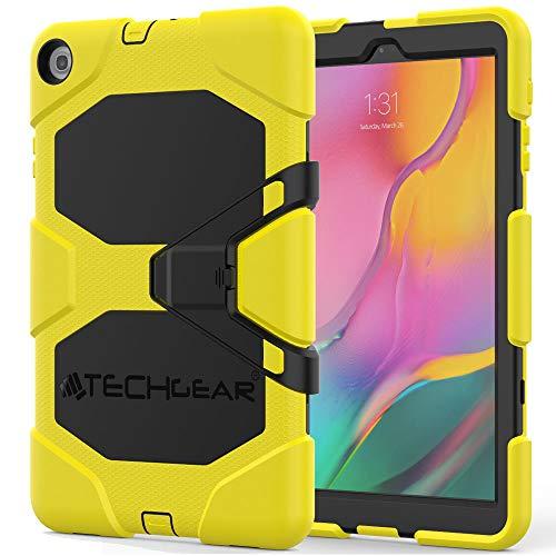 """TECHGEAR G-Shock Funda Compatible con Nuevo Samsung Galaxy Tab A 10.1"""" 2019 (SM-T510/SM-T515) - Funda Protectora Prueba de Choques con Soporte - Niños Escuelas Constructores Trabajadores [Amarillo]"""