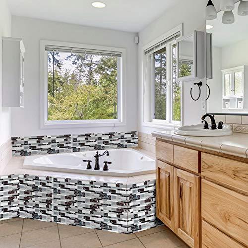ivAZW Azulejos de Mosaico Adhesivos Pegatinas Impermeable Cocina baño decoración Papel Tapiz Vinilo Resistente al Calor 10 Piezas DJ011 (25,5x27 cm)