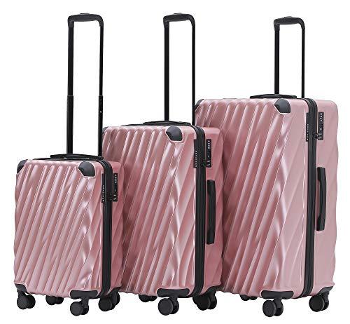 MÜNICASE TSA Schloß Handgepäck 4 Rollen Hartschalen-Koffer Trolley Rollkoffer Reisekoffer Koffer-Set (Rosagold, 3er Set)