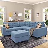 Merax Sectional Sofa with Ottoman 3-Seat Sofas Couch Set for Living Room (Light Blue)