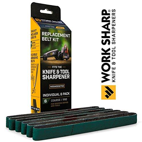 Work Sharp WSSA0002703COfficial Knife & Tool Sharpener P80 Coarse Grit Replacement Belt Kit