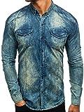 BOLF Hombre Camisa Vaquera de Manga Larga Denim Slim Fit Madmext 0895 Azul Oscuro-Gris L [2B2]
