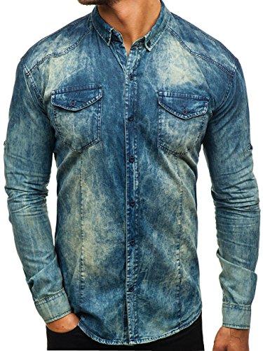 BOLF Hombre Camisa Vaquera de Manga Larga Denim Slim Fit Madmext 0540 Azul M [2B2]