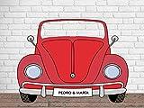 Photocall Personalizado para Bodas en Cartón Coche Rojo 200x150cm   Photocall Personalizado Coche Rojo   Photocall Personalizado Económico y Original   Photocall Personalizado Troquelado