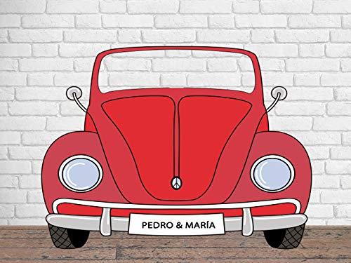 Photocall Personalizado para Bodas en Cartón Coche Rojo 200x150cm | Photocall Personalizado Coche Rojo | Photocall Personalizado Económico y Original | Photocall Personalizado Troquelado