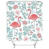 CHATAE Cortina de Ducha Baño intransparence patrón de Mold poliéster Resistente al Agua Anti Flamingo 1