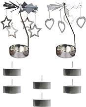 FRCOLOR 2pcs Romantic Spinning Tea Light Holder Stand Heart Star Metal Rotating Candle Holder Metal Candlesticks for Weddi...
