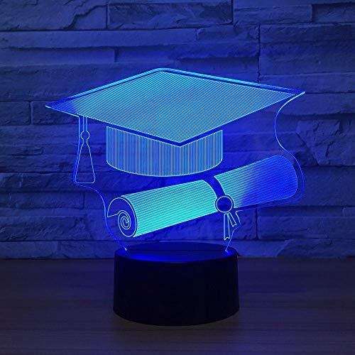 Wangzhongjie Zanjadora Forma De Tapa Led 3D Luz Nocturna 7 Colores Decoloración Lámpara De Humor Usb Lámpara De Mesa Táctil Remota Para Niños Regalo De Navidad