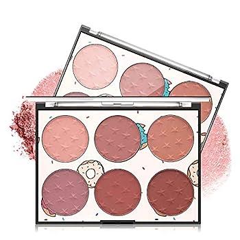 Sumeitang 6 Colors Face Blush Palette Matte Blush Powder Bright Shimmer Blush Palette Women Contour and Highlight Blush Palette Makeup-A