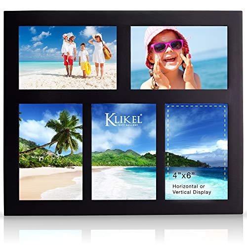Klikel Photo Collage Frame - Black Wooden Wall Frame - 5 Openings – 4x6 Pictures - Decorative Family Picture Frame