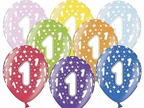 6 Ballons gonflables mélange multicolore 1er anniversaire