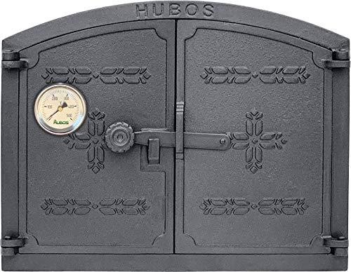 Tradehub Backofentür Ofentür Pizzaofentür Holzbackofentür Steinbackofentür aus Gusseisen mit Thermometer | Außenmaße: 445X350 mm | Öffnungsrichtung: zweiflügelig…