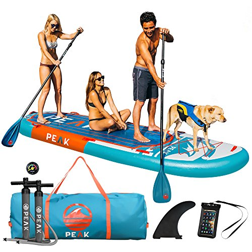 "Peak 12' Titan Inflatable Stand Up Paddle Board Package | 8"" Thick Multi Person iSUP and Accessory Bundle 
