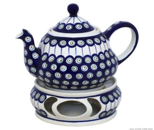 Original Bunzlauer Keramik Teekanne 2,0 Liter mit integriertem Sieb und Stövchen im Dekor 8