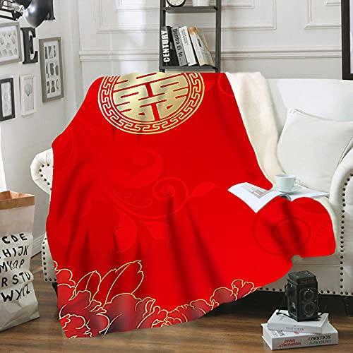 Rot Bettwäsche,Rot Decke,Weich Decke,Wedding Decke,Geschenk Decke,Bequeme Rettungsdecke,Sofa und Schlafzimmer Dekoration Decke. (Rot3, 100x150cm)