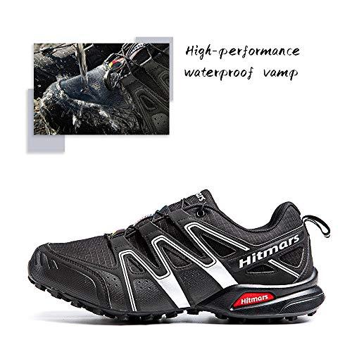 Zapatillas Trail Running Hombre Mujer Impermeables Zapatos Trekking Ligero Botas Senderismo Bajos Multideporte A Negro-Blanco Talla EU 39