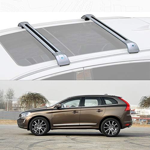 Ajuste Personalizado for Xc60 Barra De Carga Baca Portaequipajes De Aluminio for Xc60 (Color : Silver, Size : For Volvo Xc60 2015-17)