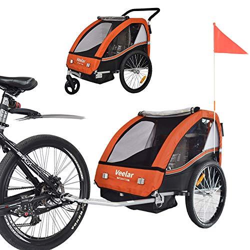 Fietskar voor 1-2 Kinderen met Joggerkit Fietskarren Aanhangwagen ORANJE BT502-D04