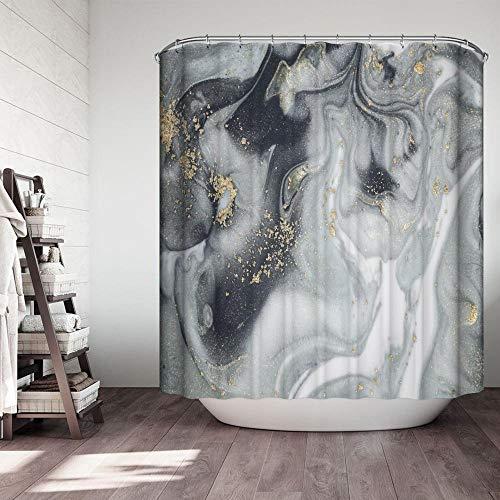 chuanglanja schimmelbestendig douchegordijn marmer patroon waterdicht vormvast douchegordijn gemaakt van polyester roestvrije koperen gesp 180 * 200cm grijs