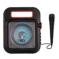 boAt PartyPal 20 Wireless Party Speaker, Party Sound (15W), BT 5.0/Aux/USB/Radio, Integrated Controls, Free Microphone for Recording and LED Lights (Black),boAt,PartyPal 20