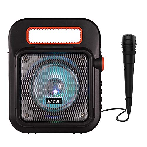 boAt PartyPal 20 Wireless Party Speaker, Party Sound (15W), BT 5.0/Aux/USB/Radio, Integrated Controls, Free Microphone for Recording and LED Lights (Black)