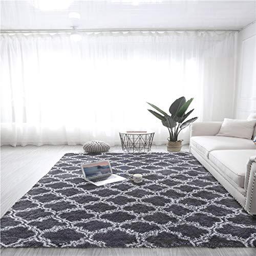 N / A Teppich für Wohnzimmer, weich, rutschfest, flauschig, zottelig, groß, für Flur, Schlafzimmer, Hellschwarz, 120 x 160 cm
