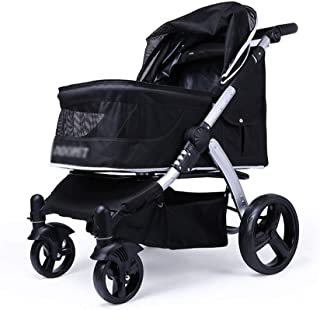 Zzyff Pet Stroller Cart, Foldable Cart for Dog Four-Wheel Shock Absorber Pet Travel, Baby Stroller One-Button Assembly, Load Capacity 35kg Durable