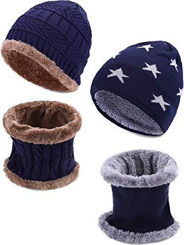 Leinuosen 4 Pezzi Bambini Cappello Inverno Sciarpa Set Pelliccia a Maglia Cranio Cappuccio e Scaldacollo per Le Giornate Fredde (Blu Navy)