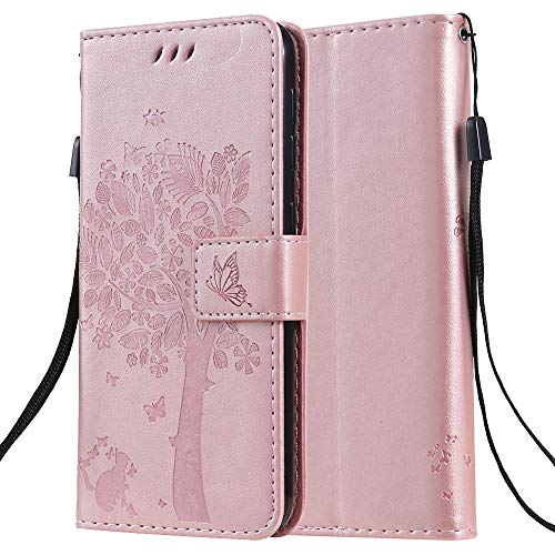 C-Super Mall-UK Apple iPhone 7 Case, Embossed Tree Cat Butterfly Pattern PU Leather Wallet Stand Flip Case for Apple iPhone 7 (Rose gold)