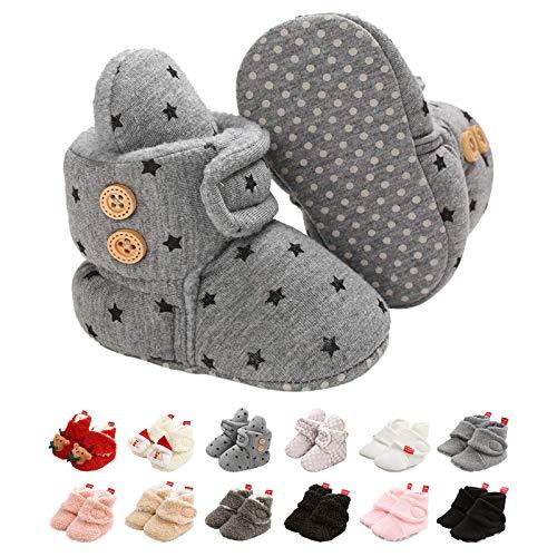 EDOTON Säugling Jungs Mädchen Warm Hausschuhe,Winter Weiß Süß Weich Baumwolle Unisex Rutsch-fest Baby Schuhe zum Weihnachten Zuerst Geburtstag Geschenk