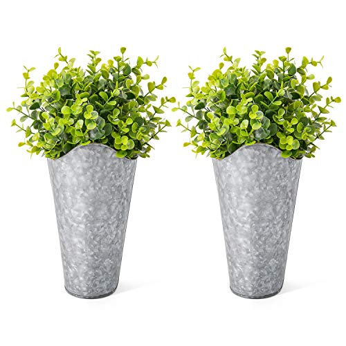 Dahey 2 Pack Galvanized Metal Wall Planter with Artificial Eucalyptus Farmhouse Style Hanging Flower Holder Rustic Home Decor for Living Room Kitchen Bedroom Apartment Office